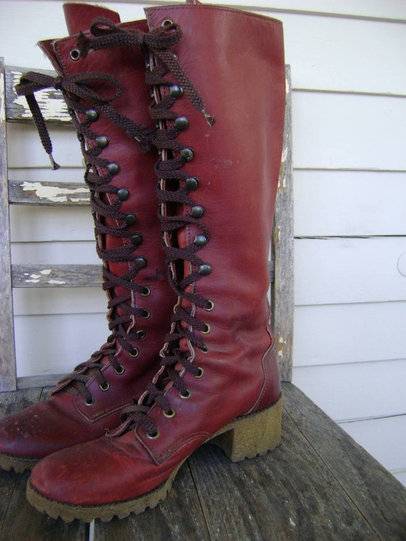 Vintage Tall Lace Up Campus Boots/Size 8 1/2