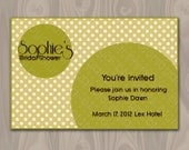 Bridal shower printable invitation - moss green polka dot invite - custom diy printable file, customizable texts - BS010