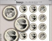 Bridal shower printable 2 inch circles - vintage photo from your own pic made look older - custom diy decoration, toppers or tags - BS052