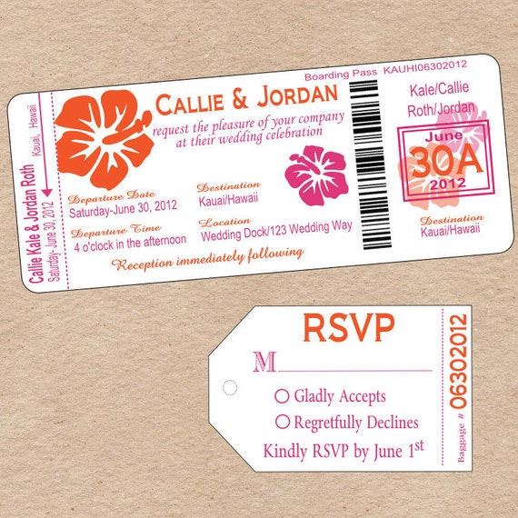 Items Similar To Boarding Pass Wedding Invitation
