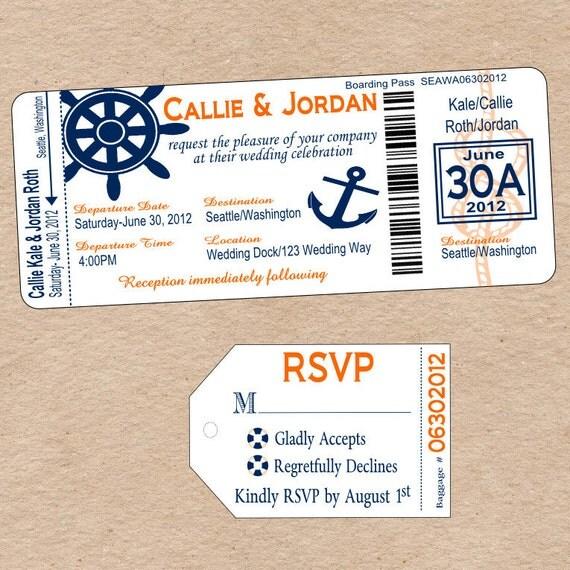 Nautical Boarding Pass Invitation & matching Luggage Tag Response Card- DIY Printable Destination Wedding Invitation