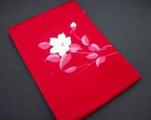 Free Shipping Vintage Japanese Nagoya Obi Belt/ Red Violet/ Camellia Embroidery