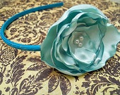 Turquoise Satin Bloom Headband