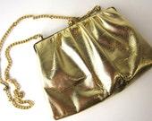 vintage handbag, gold lame clutch purse. 1980s small bag.