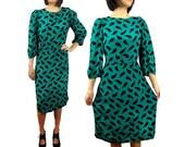 vintage silk dress teal green 80s puff sleeves.