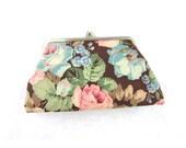 vintage floral coin purse 80s wallet mini makeup pouch