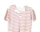 vintage striped crop top red & white babydoll t shirt
