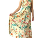 vintage floral maxi dress 1970s hippie long maxi dress boho