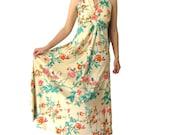 vintage floral maxi dress 1970s hippie long maxi dress boho