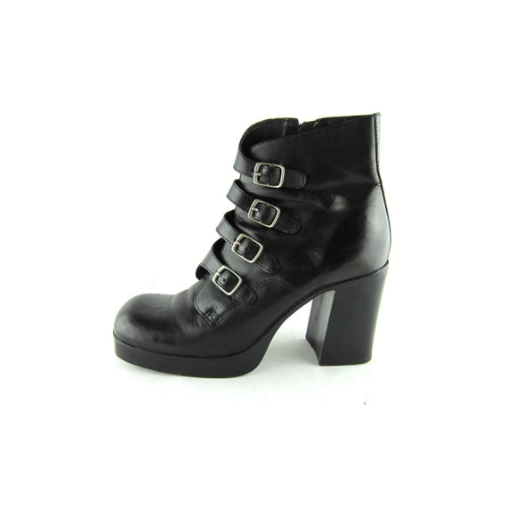 goth leather ankle boots black platform shoes heavy metal chunky heel size 7.5