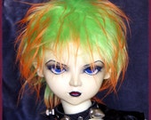 """BJD Fur Wig / Fairy Fire style / made-to-order in your choice of size / for large BJD, 8-9"""" head size"""