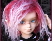 """BJD Fur Wig / Rose Frost style / rose/white mix / made-to-order / for MSD, SD Cute, Unoa and YoSD sizes (6.7-7.7"""")"""