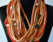Red and Gold Striped Scarf TShirt Necklacewith pendants