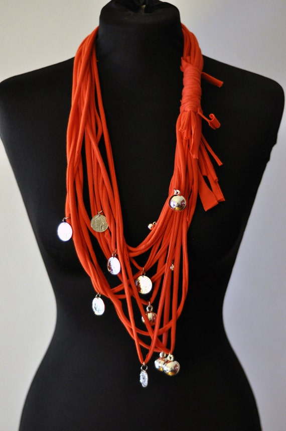 Red Scarf TShirt Necklace with coins - S. VALENTINE'S DAYS