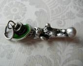 Industrial inspired bear on ball charm pendant