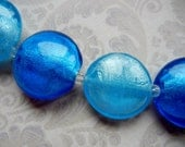6 Aqua Mix Glass Silver Foil Beads