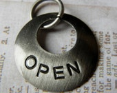 Open Industrial inspired tag charm pendant