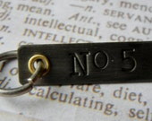 No. 5 Industrial inspired tag charm pendant