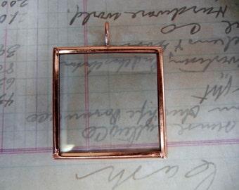 Copper finish glass pendant