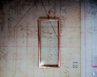 Copper finish glass rectangle pendant