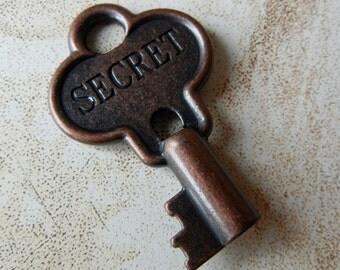 Antique Copper Engraved Secret Skeleton key