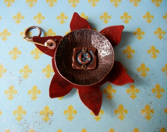 Large Sun or flower pendant Industial Chic