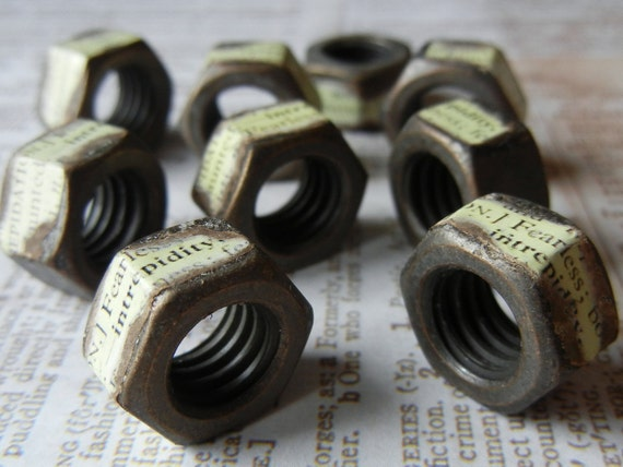 Industrial inspired metal nut spacers