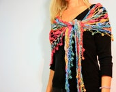 The Nefelie Shawl summer fashion crochet wrap scarf in rainbow colors under 100 - polixeni19