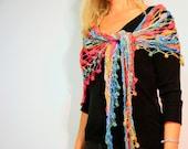 Crochet shawl wrap summer fashion in rainbow bright colors, the Nefelie Shawl, under 100