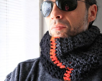 Chunky infinity cowl for men winter fashion, Aeolus, in charcoal, black, orange, vegan friendly