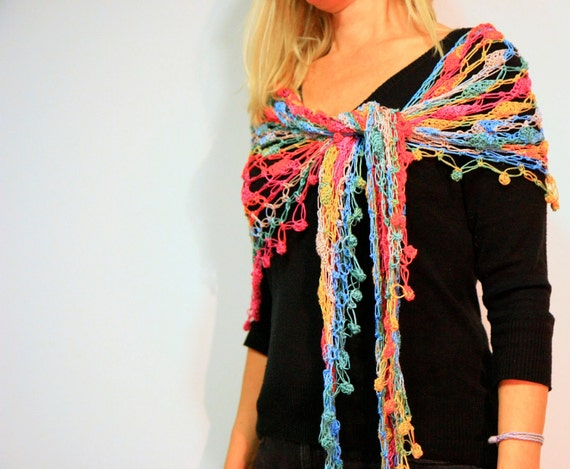 Crochet shawl wrap summer fashion in rainbow bright colors, the Nefelie Shawl, under 100