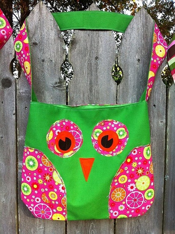 Owl Bag - large - green / fruit