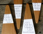 Four small solid cherry salad servers - reclaimed wood, one-of-a-kind