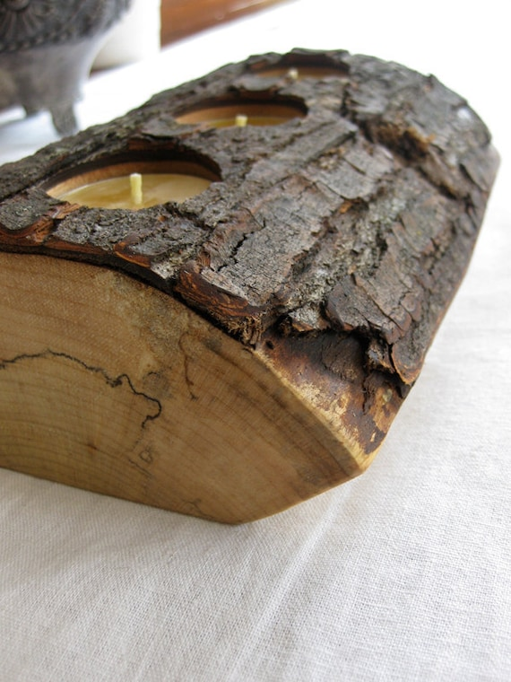 split log candle holder in reclaimed ash pure beeswax tealight candles eco gifts under 50 LCH106