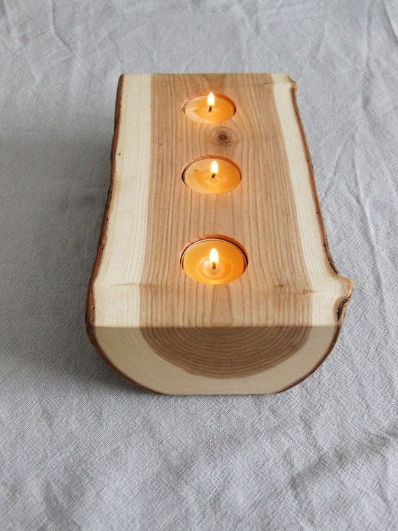 Candle Holder - split log reversible bark on wood candle holder with pure beeswax candles.