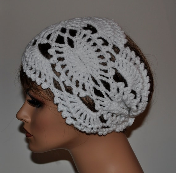 "Crochet Head wrap, Bridal,White  Shimmery  Lace, 7"", button closure,     HBNO. 31"