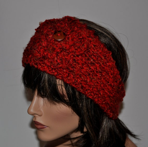 Knitted Headbands Ear Warmer,  Red , Crochet Flower with button in the center,   HBNO.43