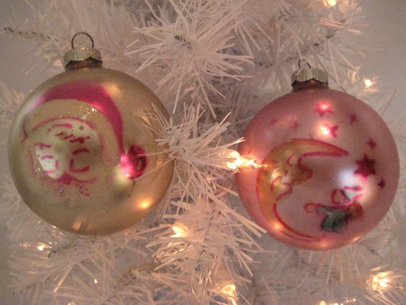 Vintage Glass Christmas Holiday Pastel Ornaments