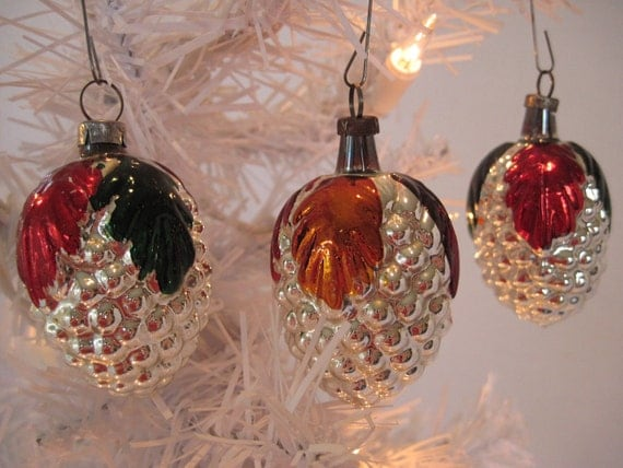 Vintage Figural Glass Grape Christmas Holiday Ornaments - Set of Three