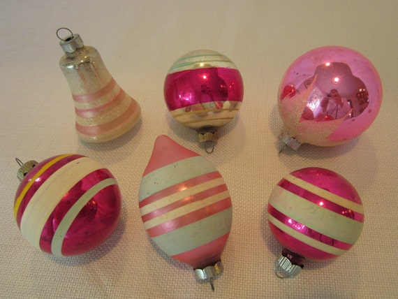 Pink Striped Shiny Brite Vintage Glass Christmas Holiday Ornaments Set of Six