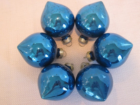 Blue Glass Teardrop Christmas Holiday Tree Ornaments - Vintage - Set Of Six