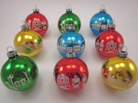 Vintage Glass Stenciled Christmas Holiday Ornaments Set Of Nine Bright Colors