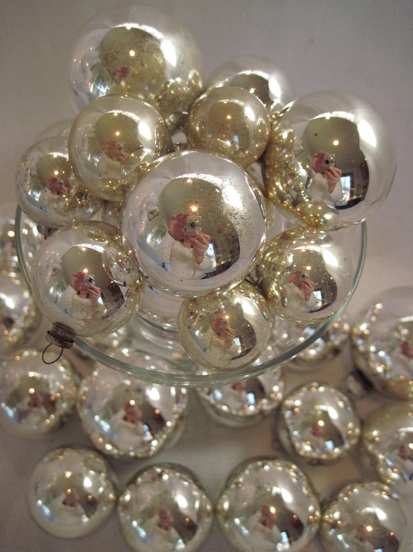 Silver mercury glass christmas holiday tree ornaments