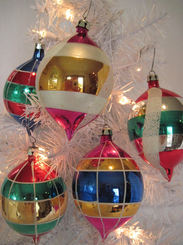 Vintage Glass Teardrop Christmas Holiday Ornaments Set Of