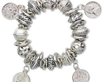Bracelet - Chunky Silver Plated beads with Rings and Charms