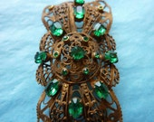 SALE. Vintage Czechoslovakian FILIGREE BROOCH  in subdued Gold Tone with Green Crystals