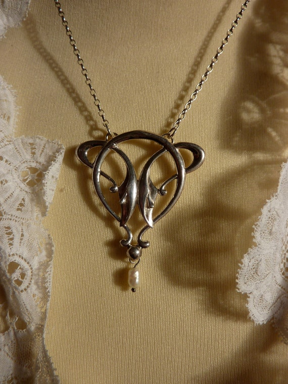 ART NOUVEAU style SILVER Necklace with tiny freshwater pearl drop .