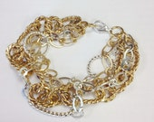 Gold and silver chain bracelet, Large