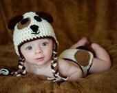 Brown and White Puppy Dog Child, Newborn, Baby Earflap Hat
