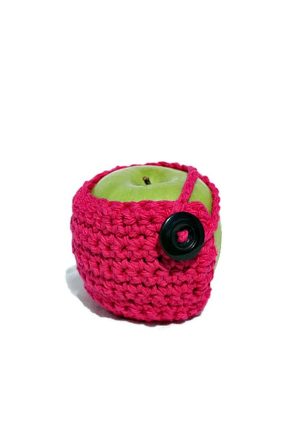 Crocheted Apple Cozy in Bright Pink
